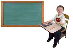 School desk and chalkboard Royalty Free Stock Photos