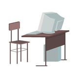 School Desk with Desktop Computer Royalty Free Stock Images