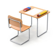 School desk with the pencil and eraser. 3D concept Royalty Free Stock Image