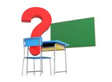 School desk question mark 3d Illustrations Royalty Free Stock Photos