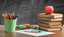 School desk. Chalkboard school back accessories apple back to school Royalty Free Stock Photo