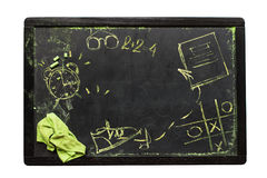 School Desk Sketches Symbols Chalkboard. School Desk Sketches Symbols or Signs on Chalkboard Copy Space Dark Background Isolated on White Stock Images