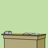 School Desk with textbooks. Line art comic caricature Royalty Free Stock Images