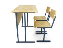 School desk with two chairs a side view Royalty Free Stock Images