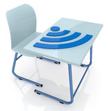 School desk with wireless symbol Royalty Free Stock Photos