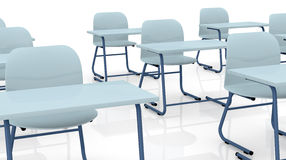 School desks. Closeup of many school desks (3d render Stock Photos
