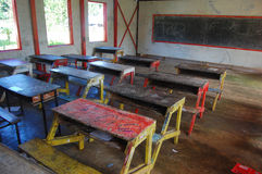 School desks at class primary school Royalty Free Stock Images