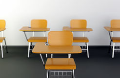 School desks in classroom Royalty Free Stock Photography