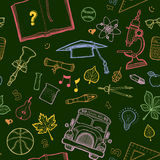 School detailed pattern with equipment Royalty Free Stock Image