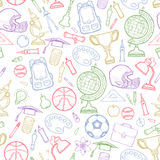 School detailed pattern with equipment Royalty Free Stock Photo