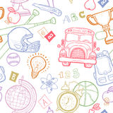 School detailed pattern with equipment Stock Photography