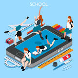 School Devices People Isometric Royalty Free Stock Image