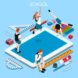 School Devices 03 People Isometric. School Devices Set 03 Tablet. Interacting People Unique Isometric Realistic Poses. NEW lively palette 3D Flat Vector Stock Photos