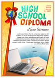 School diploma blank template. School diploma template. Image composition at the bottom stock illustration