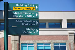 School direction sign. For college student royalty free stock photo