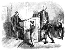 School discipline. An engraved illustration image of a teacher in a school classroom giving a boy pupil caning punishment discipline, from a Victorian book dated Royalty Free Stock Photos