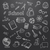 School doodle on a blackboard vector background Royalty Free Stock Photos
