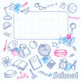 School doodle on the blots checkered page with space for text Royalty Free Stock Photo