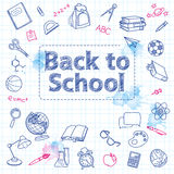 School doodle on the checkered page with Royalty Free Stock Images