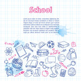 School doodle on the checkered page with Royalty Free Stock Image