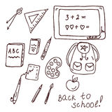 School doodle with different objects Royalty Free Stock Photography