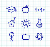 School doodle drawings and icons. Vector collection of school, biology and chemistry icons Royalty Free Stock Photos