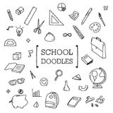 School Doodle, Hand drawing styles of School stuff. Hand drawing styles of School stuff Stock Photo