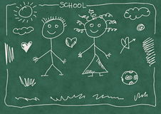 Hand drawn boy and girl Stock Images