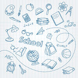 School doodle on notebook page vector background Stock Photos