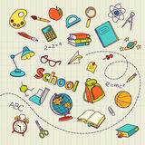 School doodle on notebook page vector background. File Stock Image