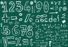 Doodle numbers and mathematical symbols Royalty Free Stock Photography