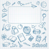 School doodle on the page with space for text Royalty Free Stock Photography
