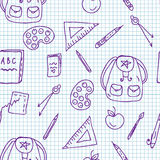 School doodle seamless pattern Stock Image
