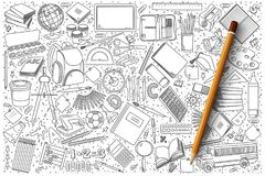 School doodle vector set royalty free illustration
