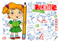 School doodles. Girl, who just draw funny doodles on the wall (or board), hold a pencil.drawn fonts Royalty Free Stock Images