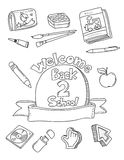 School doodles. School supplies doodles coloring book Royalty Free Stock Photos