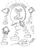 School doodles. Back to school memo holder doodles Stock Image