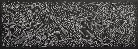 Cartoon cute doodles School banner design. Colorful illustration Stock Illustration
