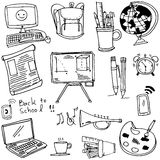 School doodles collection vector art. On white backgrounds Stock Photos