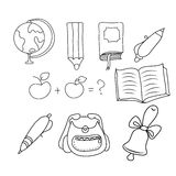School - doodles collection. Vector illustration of hands on school subjects Stock Images
