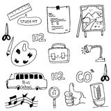 School doodles collection vector. On white backgrounds Royalty Free Stock Images