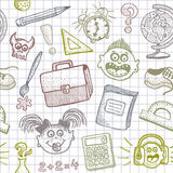 School doodles seamless background. Hand drawn funny Back to School doodles seamless background Stock Image