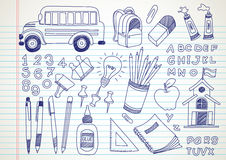 School doodles. Set hand drawn , vector illustration Stock Photography