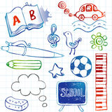 School doodles, vector set. Freehand drawing school items on a sheet of exercise book. Back to School Royalty Free Stock Photos