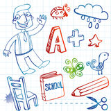 School doodles, vector set Stock Image