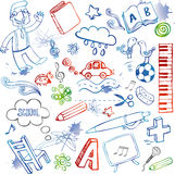 School doodles, vector set. Freehand drawing school items on a sheet of exercise book. Back to School Stock Image