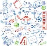 School doodles, vector set Stock Image