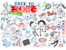 School doodles, vector set. Freehand drawing school items on a sheet of exercise book. Back to School Royalty Free Stock Images