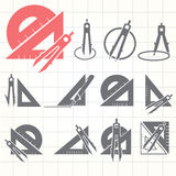 School drawing tools  icons set Royalty Free Stock Photos
