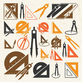 School drawing tools  icons Stock Photography